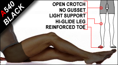 Microfabric Light Support Sheer Open Crotch Pantyhose