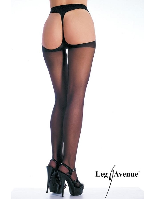 Leg Avenue sheer thong back pantyhose - 1