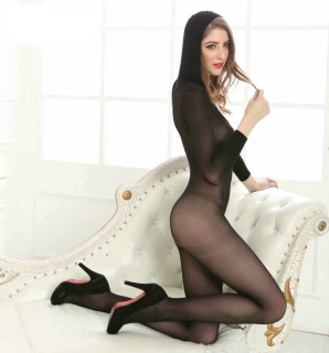 Bodystocking with hood and long sleeves